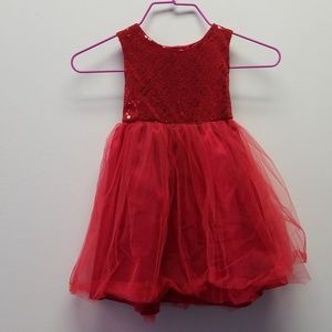 Other - Red Sequin dress with Tutu skirt with bownot 2T
